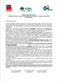 Bilancio Regione Abruzzo: macelleria sociale. A rischio la tenuta dei servizi pubblici e la garanzia dei diritti costituzionali.