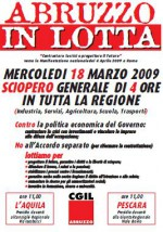 Cgil Abruzzo Sciopero il 18 marzo di 4 ore