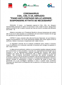 CORONAVIRUS CGIL,  CISL  E  UIL ABRUZZO
