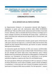 Organizzazioni Sindacali e Associazioni Datoriali: NO AL DEPOSITO GPL SUL PORTO DI ORTONA.
